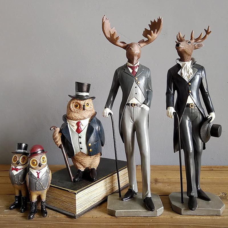 Résine américaine Gentleman cerf renard hibou ornements maison salon ameublement artisanat vêtements magasin café Club Figurines décoration