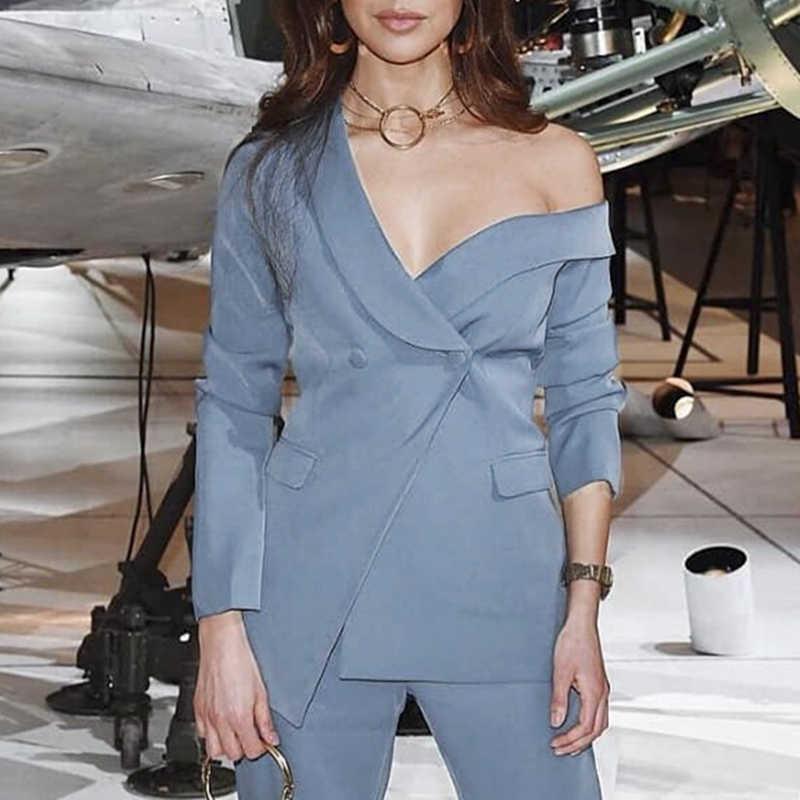 Floylyn винтажный ассиметричный блейзер с v-образным вырезом, однотонный приталенный костюм с фальшивым карманом, пиджак, Женский блейзер, офисный Женский блейзер, пальто
