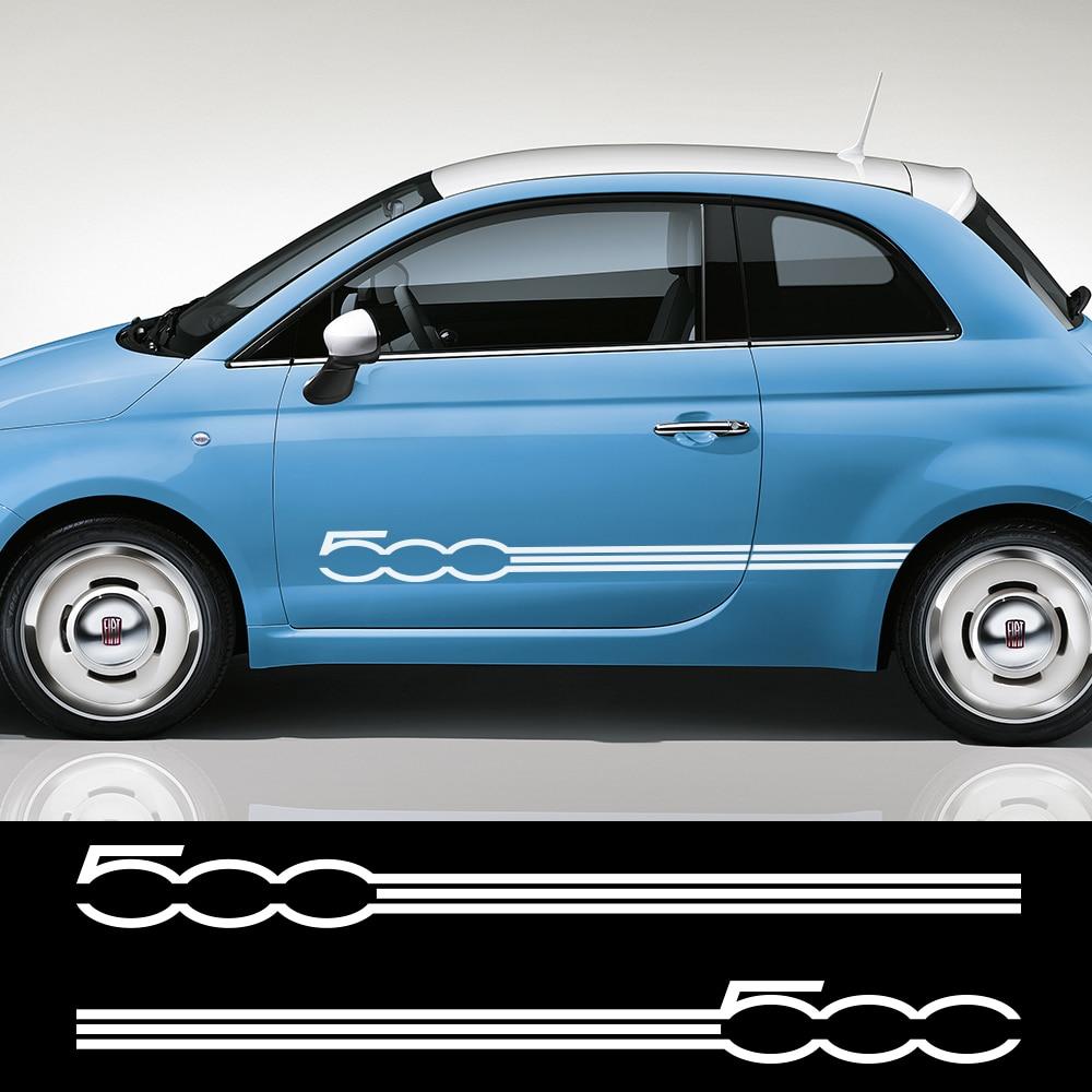 2 шт. для Fiat 500 Стайлинг автомобиля дверь боковая юбка длинные полосы графические Наклейки Декор кузова автомобиля виниловая пленка автомоб...
