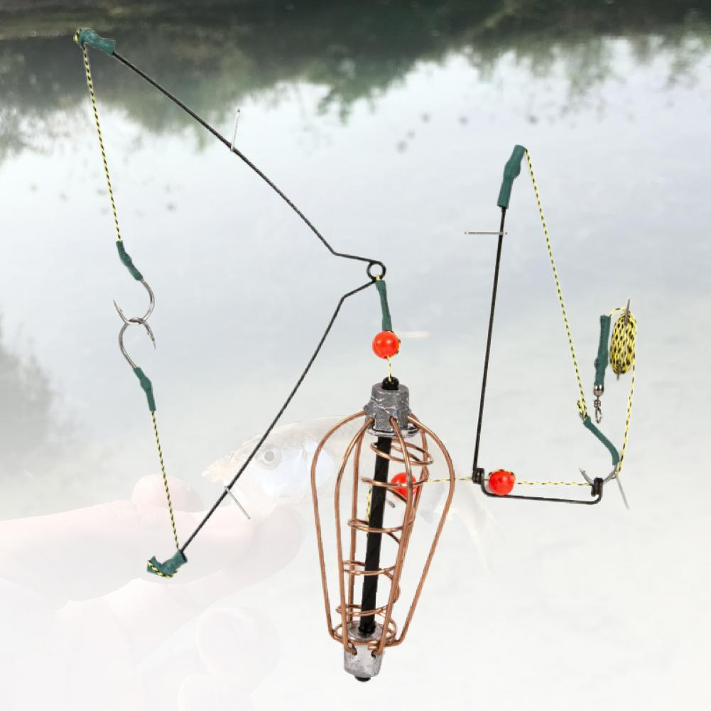 1 Pcs  Fish Copper Bait Cage Basket Feeder HolderFishing Lure Cage Fishing Anti-corrosion with Line Hooks for Fishing