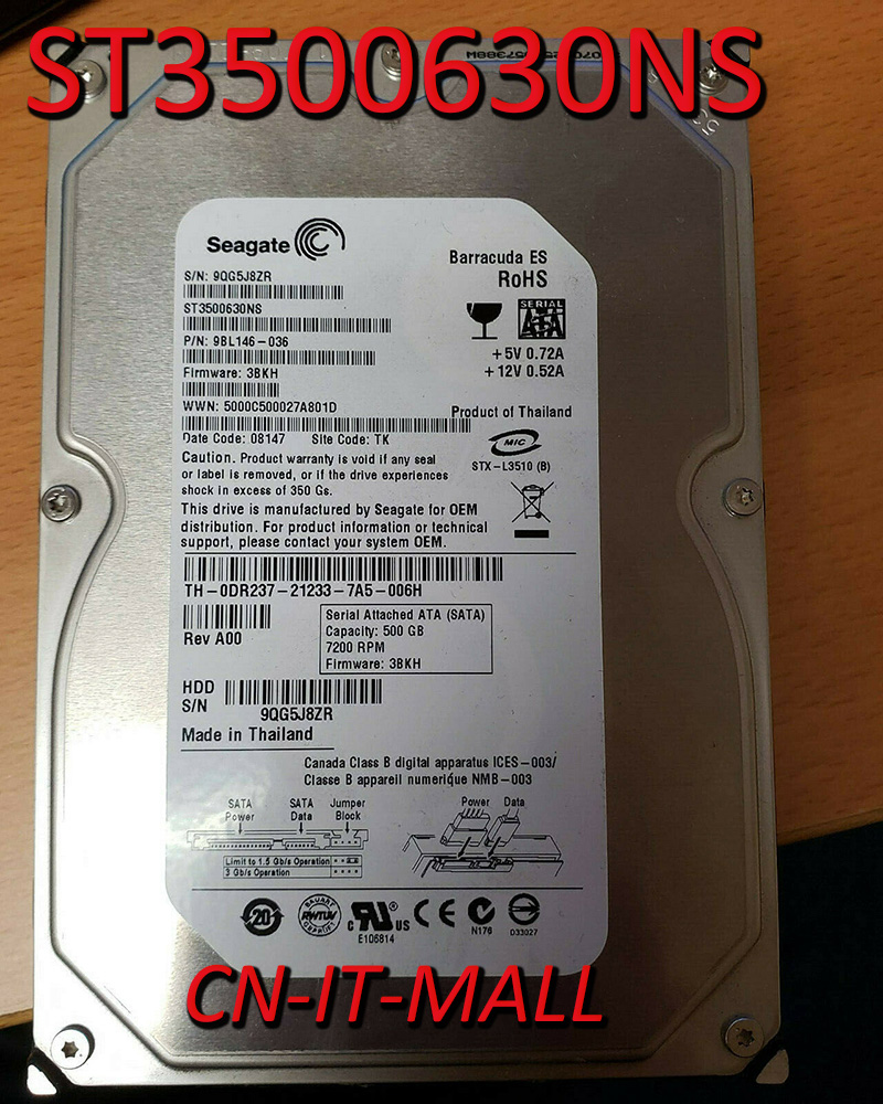 Жесткий диск Seagate BarraCuda ES ST3500630NS, 500 Гб, 7200 об/мин, 16 Мб кэш-памяти, SATA 3,0 ГБ/сек. 3,5 дюйма
