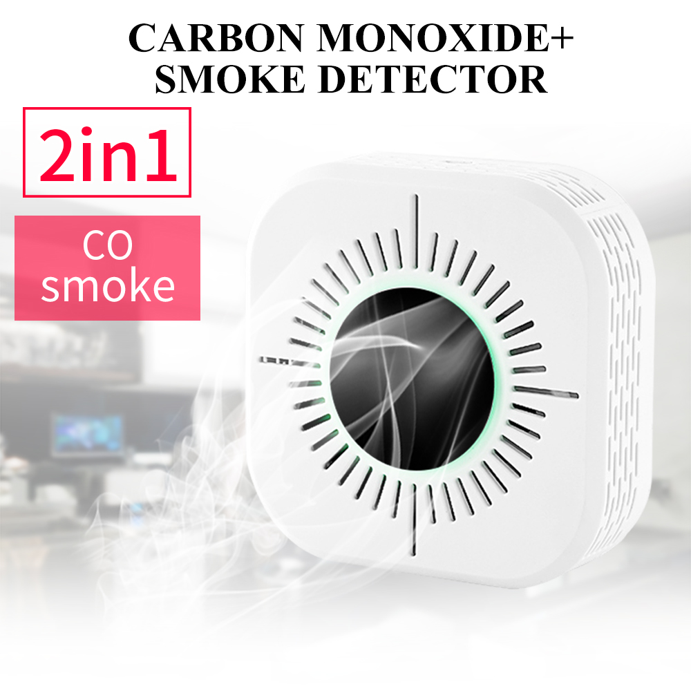 Newest 2 In 1 CO Carbon Monoxide Sensors & Smoke Detector Fire Alarm Sensor CO Carbon Poisoning Detector