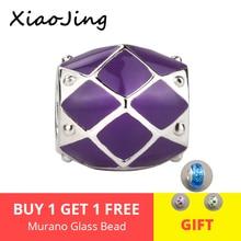Fit original pandora charm Bracelets 925 sterling Silver Beads with purple namel diy fashion Jewelry making for women gifts недорого