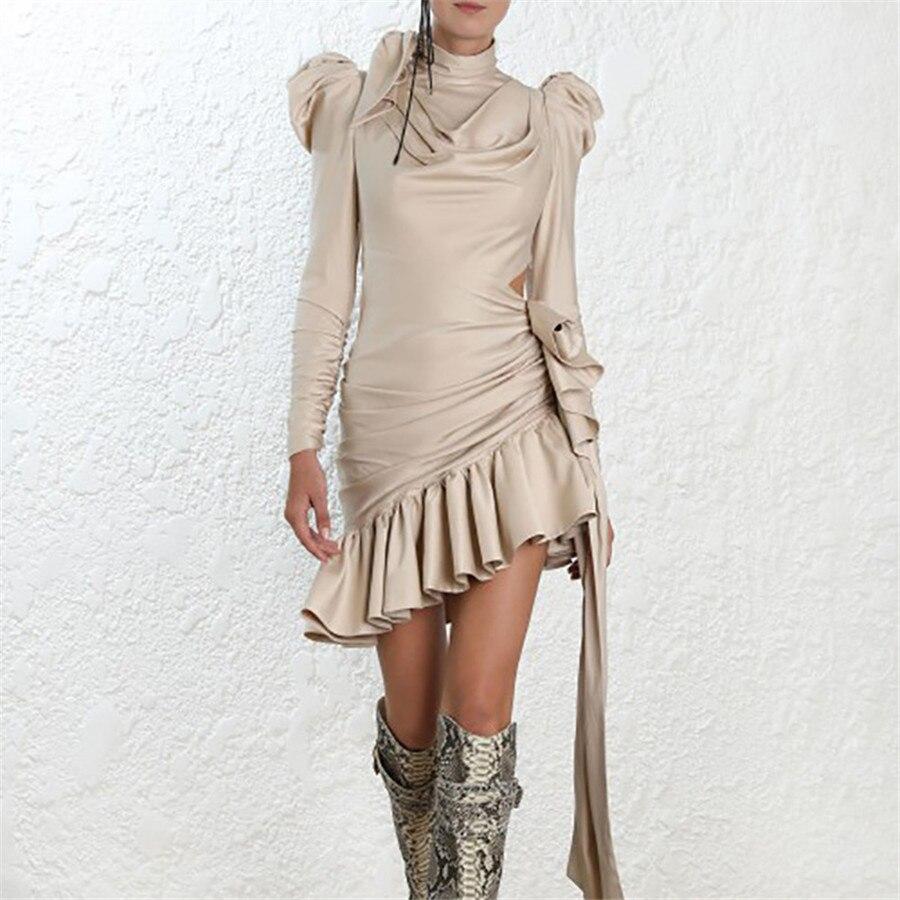 Kadın Giyim'ten Elbiseler'de Yüksek kaliteli kadın moda Ruffled elbise uzun kollu Vintage Mermaid Mini elbise maruz bel çıplak elbise sonbahar ince Vestidos'da  Grup 1