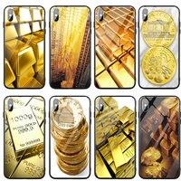 Fundas de teléfono de vidrio templado para iphone X XR XS 11 12 Pro Max carcasa trasera para iphone 6S 7 8 Plus bolsas la luz dorada de oro