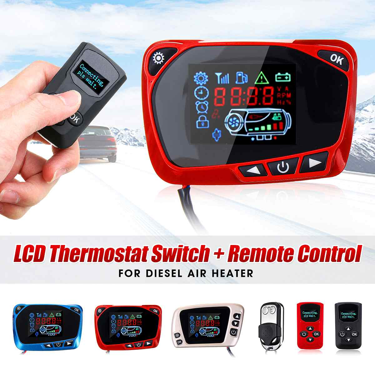 For 5kw/8kw Car Heater 12/24V Air Diesel Heater Parking Heater LCD Thermostat Display Switch & Remote Controller Car Accessories