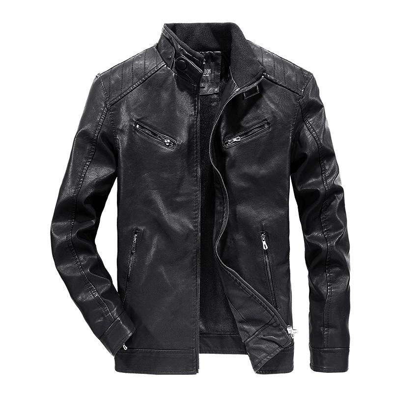 2020 Mens Winter Clothing Thickening Plus Velvet Leather Motorcycle Jacket Mens Warm Slim Self-cultivation Retro Mens Clothing