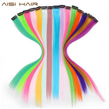 "AISI HAIR 20"" Colored Highlight Synthetic Hair Extensions Clip In One Piece Color Strips Long Straight Hairpiece For Sports Fans(China)"
