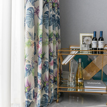 American country Curtains for Living Dining Modern Simple Double-sided Printing Shading curtains for dining Room Bedroom