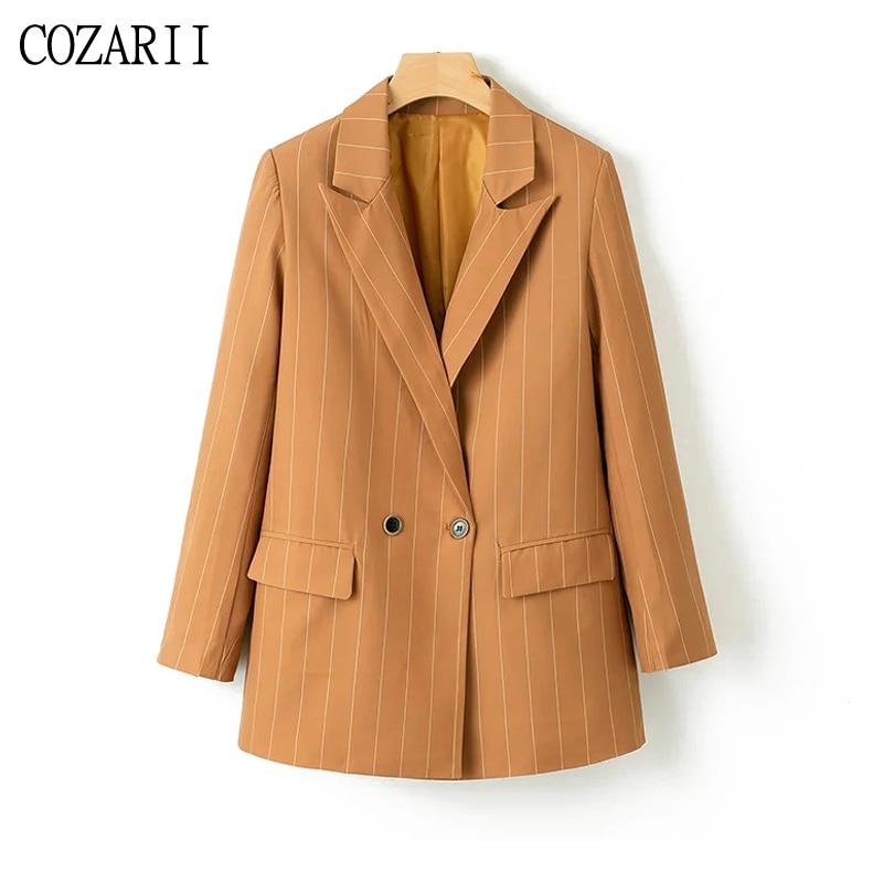 Striped Women Twill Blazers Khaki 2019 Spring-Autumn Loose Ladies Notched Collar Suits Elegant Girls Pockets Blazer Jacket set