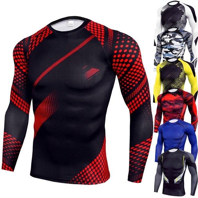 Novos Homens Que Executam Compressão Camisa Academia de Musculação de Fitness t-shirt Manga Longa Dry Fit camisa Esporte t Homens Rashguard MMA Apertado