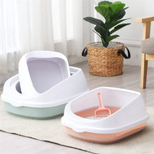 Pet Cat Toilet Semi-Enclosed High Fencedetachable Cat Litter Box Cat Toilet Dog Tray Clean Scoop Home Plastic Sand Box Supplies(China)