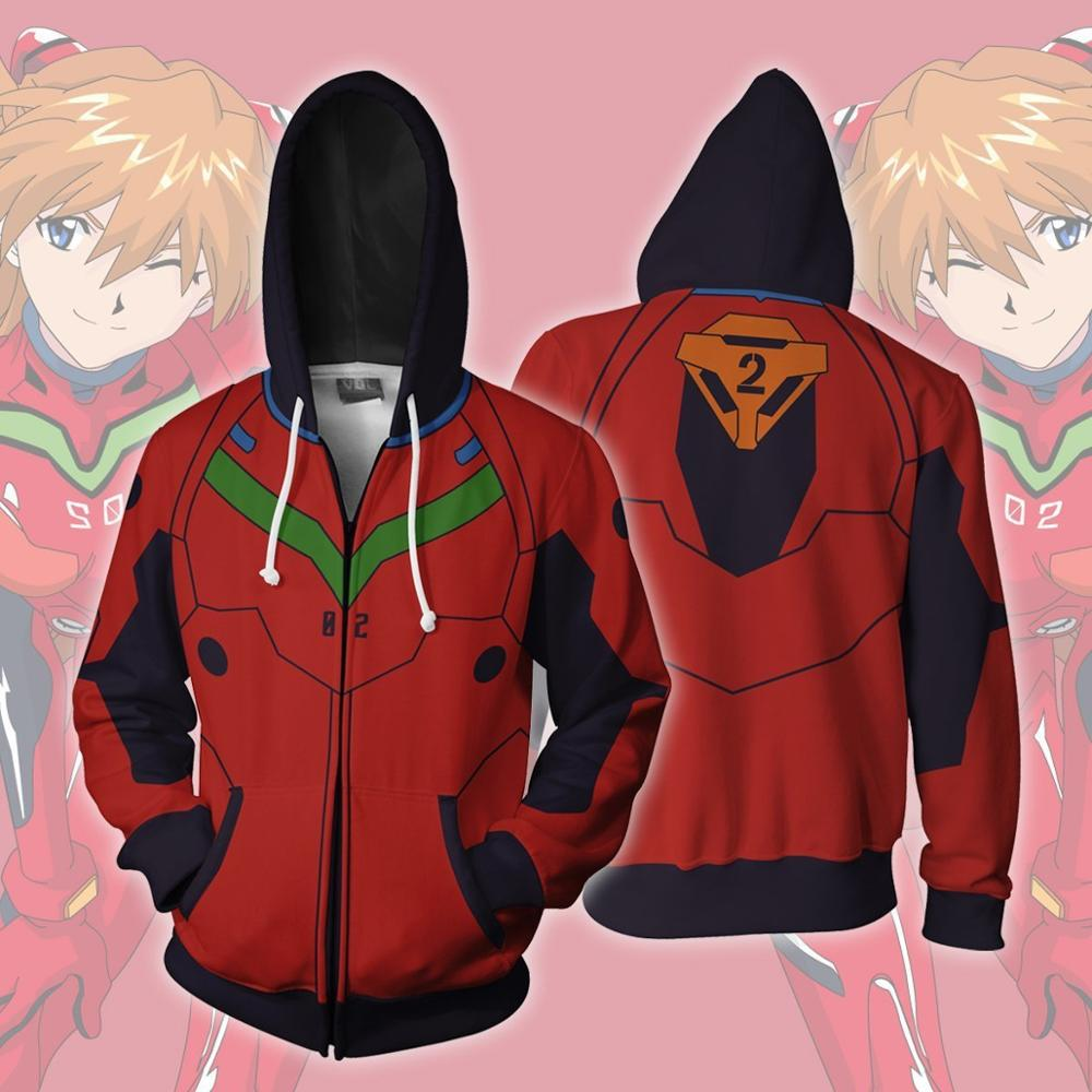 Anime Hoodie Sweatshirt EVA Evangelion Asuka Langley Soryu Ayanami Rei Cosplay Costume  Jacket Coats Men Women Top