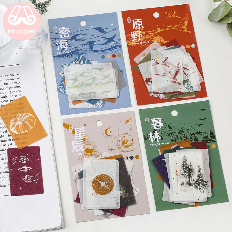Mr.Paper 20 Pcs/pack 4 Designs Crane Nature Notes Clover Stickers Transparent PET Material Flowers Leaves Plants Deco Stickers