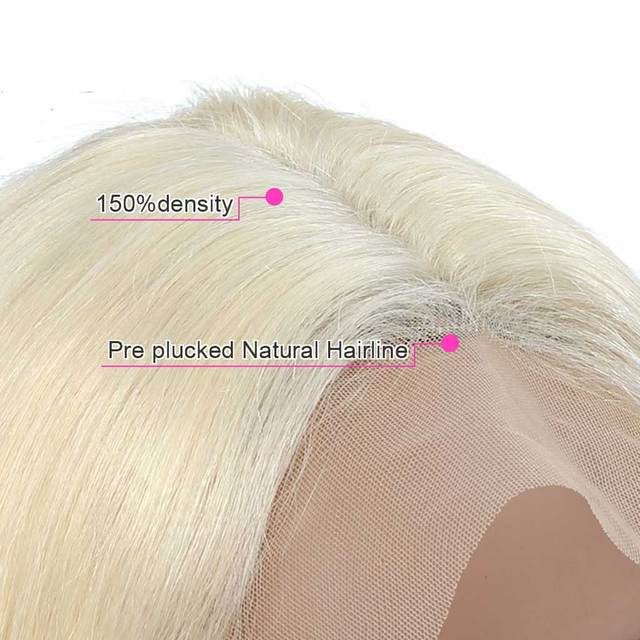 4x4 Lace Closure Blonde Bob Wig 613 Blonde Closure Wig Remy Human Hair Straight Short Bob Wig Middle Part 4x4 Lace Closure Wig 3