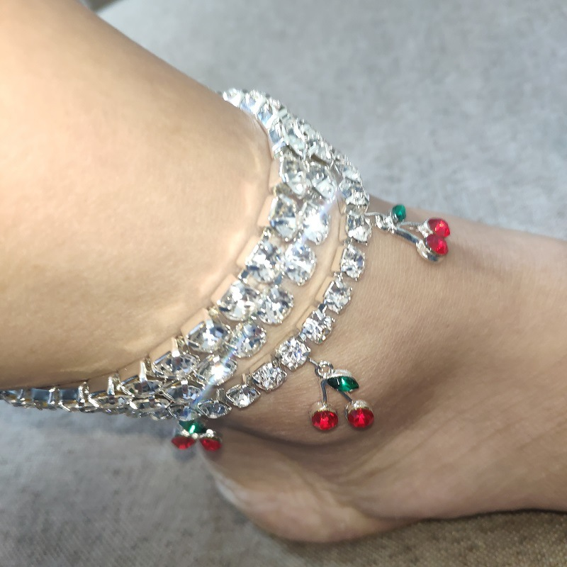 Rhinestone Cherry Ankle Bracelet Tennis Chain Crystal Anklets for Women Beach Leg Foot Bracelets Boho Jewelry