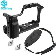 Alüminyum kamera kafes SONY a6500/a6400 Canon EOS M50 için XT 2 XT3 SLR hızlı Rease plaka montaj ile bileklik askısı