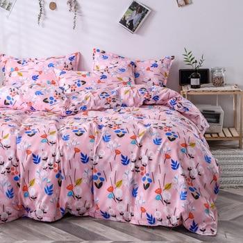 Classic Bedding Set 5 Size Grey Blue Grid Summer Home Linen 4pcs/Set Duvet Cover Flat Sheet Pastoral Sleeping Cover AB Side 2021
