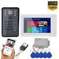 7 дюймов беспроводной Wifi RFID пароль видео телефон двери дверной звонок Домофон Система с проводным IR-CUT 1080P Проводная камера ночного видения