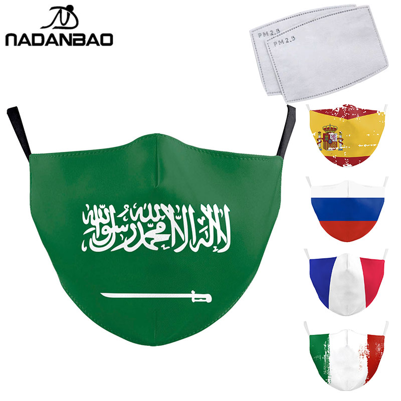 NADANBAO Forza Arab Spain Flag Print Mask Keep Fighting Face Masks Fabric Adult Protective PM2.5 Reusable Mask Proof Washable