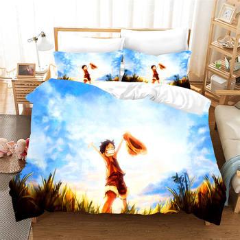 Dibujo de mono D. Juego de cama Luffy de una pieza, cubrecamas decorativo para habitación de niños, cubrecamas Individual Doble completo, funda de cama para niñas y niños