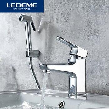 LEDEME Basin Faucet With Handheld Spray Head Single Handle Hole Bathroom Sink Chrome Faucet Basin Taps Hot Cold Mixer Tap L1254