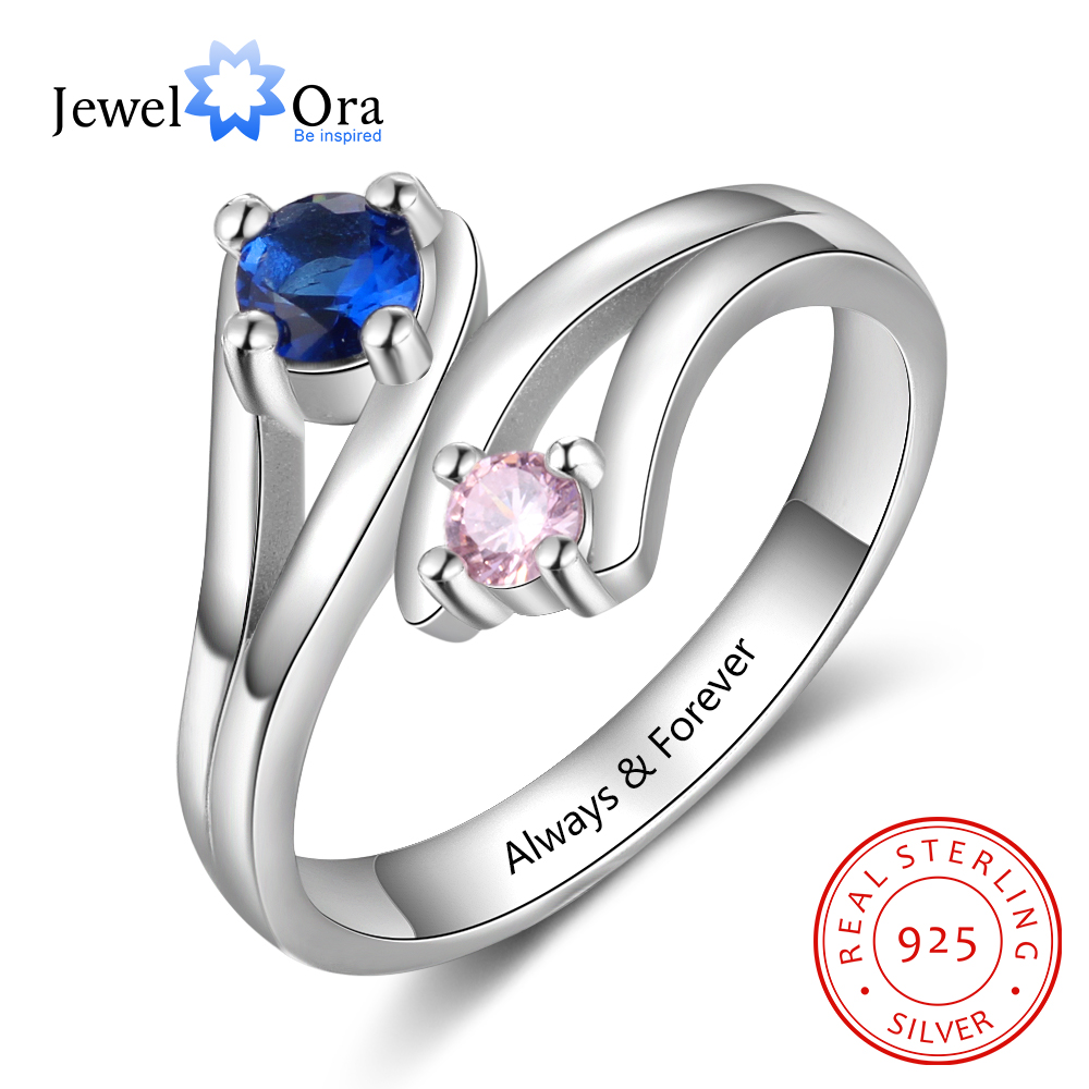 Personalized Ring with 2 Heart 2 Names Birthstones for Mothers Day Customized 925 Sterling Silver Name Engagement Engraved Promised Rings Handmade Best Gifts for Mom//Girls//Girlfriend//Women