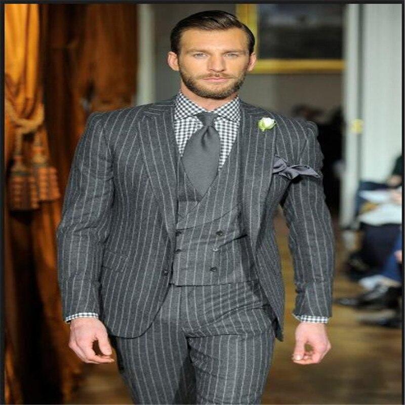 2020 Top Quality Brand Men Suits Gray/Black Stripe Men's Blazer Slim Fit Wedding Male Groom Tuxedos Business Suit Prom 3 Pieces