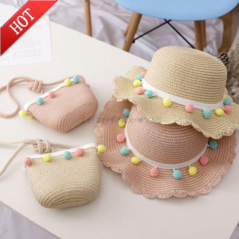 Kids Girls Wide Brim Straw Woven Sun Protection Beach Hat Colorful Pompom Ball Summer Floppy Bucket Cap Portable Handbag панама