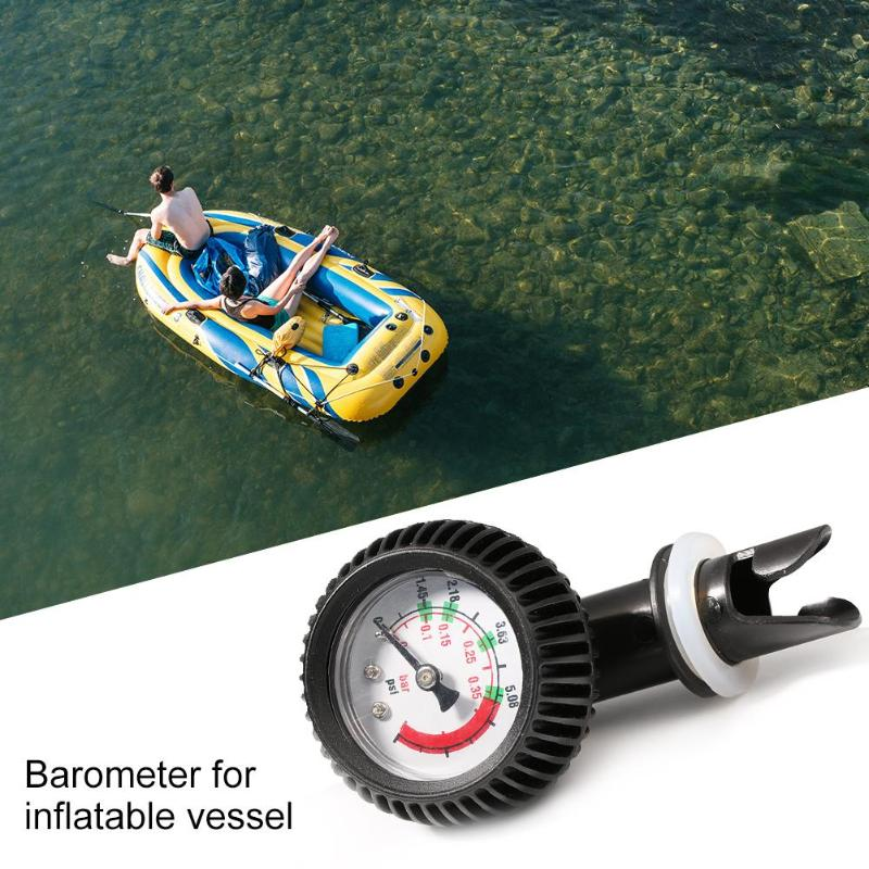 Hot Sale Air Pressure Gauge Inflatable Boat Pump Gas Meter 5 PSI Air Thermometer Kayak Test Air Valve Connector ABS Barometer