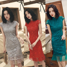 2019 Sexy traditional chinese style evening dress formal embroidery cheongsam lace Womens qipao luxury dress fishtail red grey