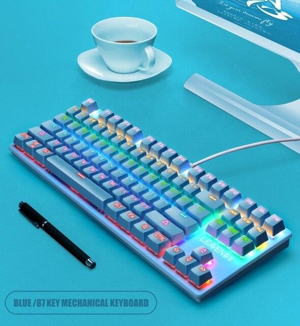 Newest Single Backlit Mechanical keyboard 87keys Mechanical gaming keyboard 2