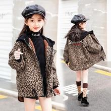 Leopard velvet denim trench Coat for Girls Winter Denim Clothing Jeans Jackets Children Outerwear Kid Teenager girls Clothes