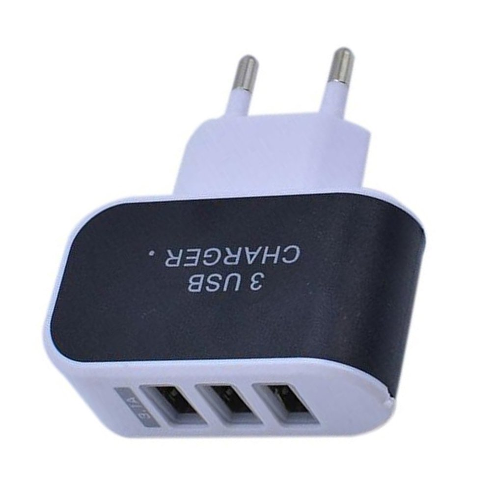 3 Ports 3.1A Triple USB Port Wall Home Travel AC Charger Adapter EU Plug Mobile Phone Charger For iPhone X 8 7 Plus For Samsung image