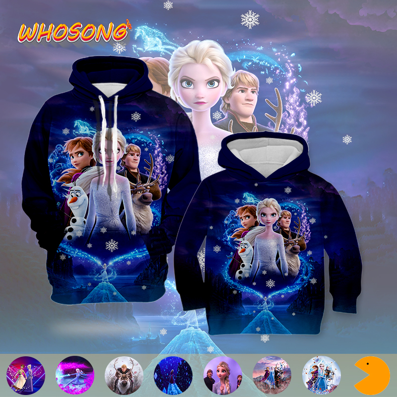 WHOSONG 3D Hoodies 2019 Hot Sale Popular Cartoon FROZEN 2 Jacket Fashion Boys Girls Clothes Men Women Unisex Funny Sweatshirt