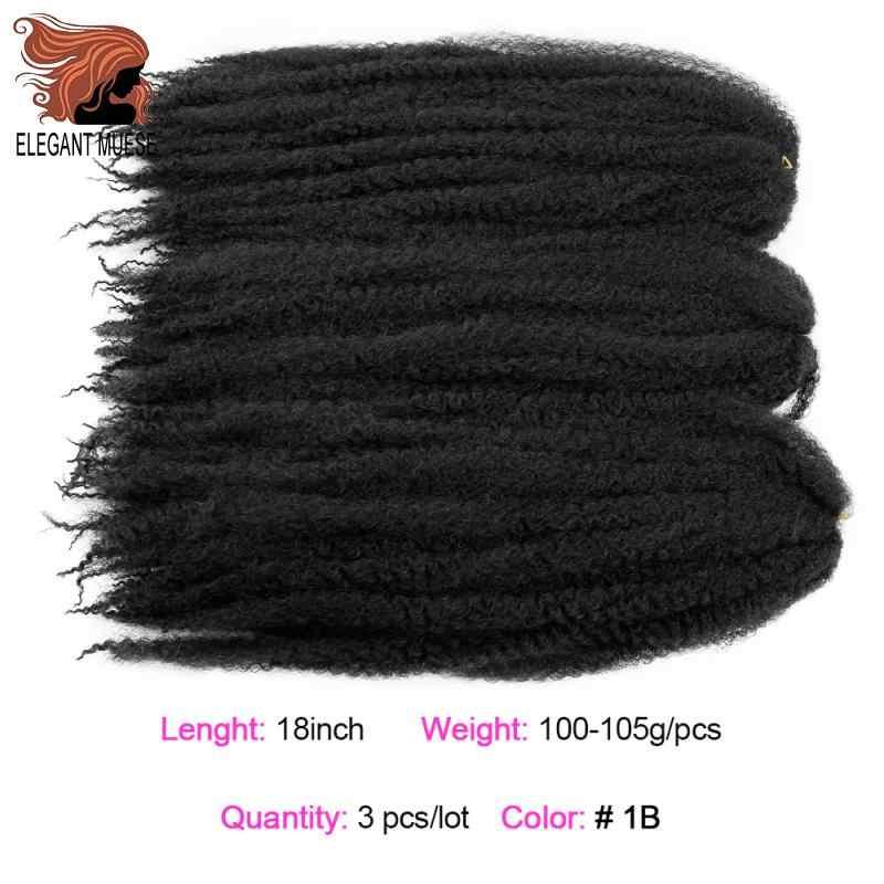 Elegan Pencipta Marley Rambut Kepang Crochet Ombre Afro Kinki Sintetis Lembut Rambut Mengepang Rajut Kepang Rambut Ekstensi Massal