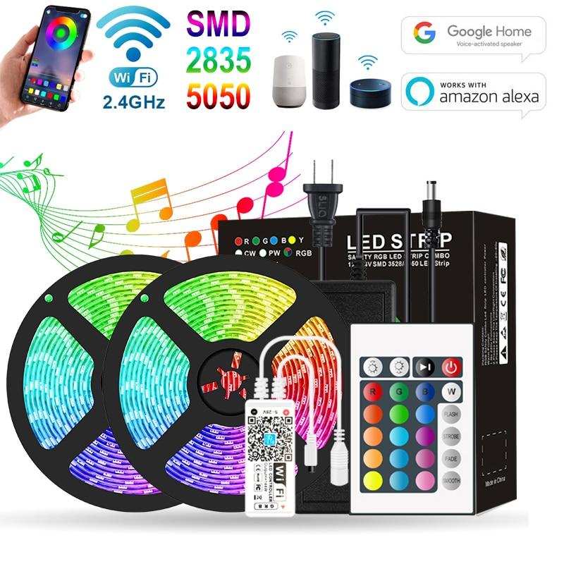 5/10m app controlado luzes de tira led rgb 2835 5050 fita flexível com tira wifi remoto diodo lâmpada 12v casa decoração do quarto