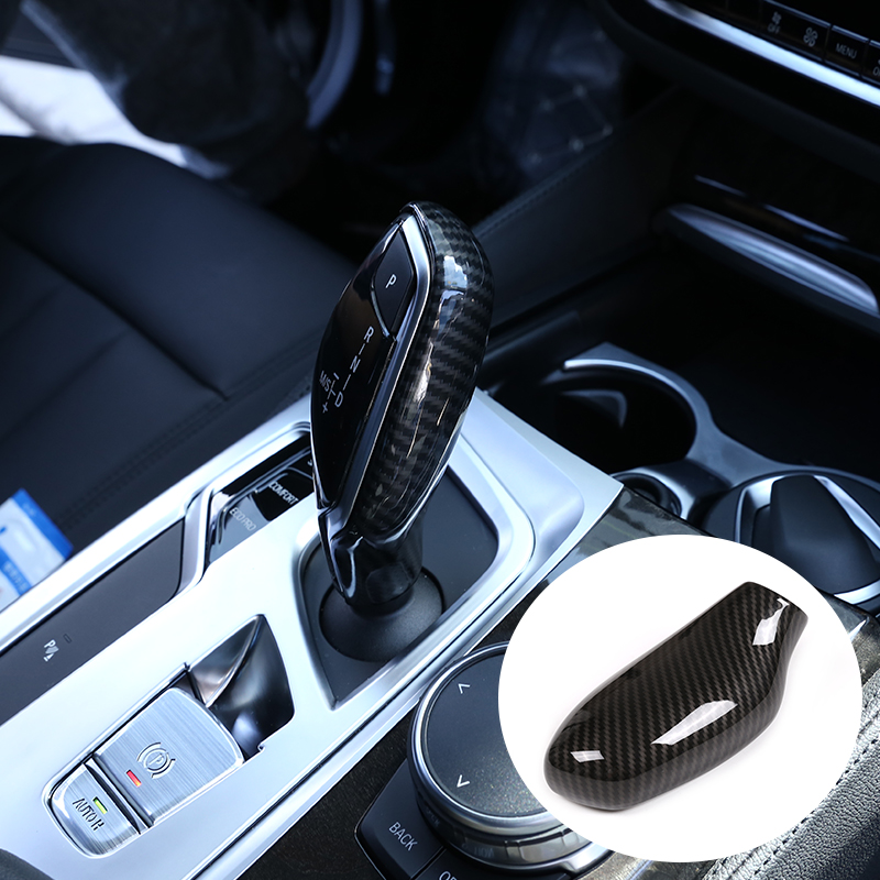 LHD and RHD Car ABS <font><b>Carbon</b></font> Speed Gear Shift Knob Head Cover Trim For <font><b>BMW</b></font> 5 6 7 Series GT G32 G30 G11 G12 <font><b>X3</b></font> X4 <font><b>G01</b></font> G02 2016-2019 image