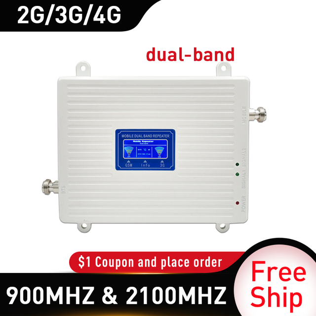 4g Repeater 900 2100 mhz 2G 3G 4G dual Band Signal Booster GSM WCDMA LTE DCS 4G Cellphone Signal Repeater Cellular Amplifier