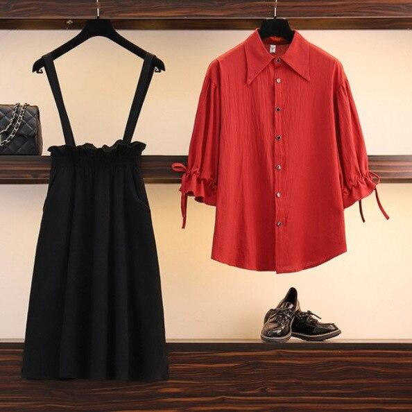 Large Size Dress Three-quarter-length Sleeve Camisole Skirt Two Pieces Skirt Set Fold-down Collar Shirred Bandage Cloth Shirt Hi
