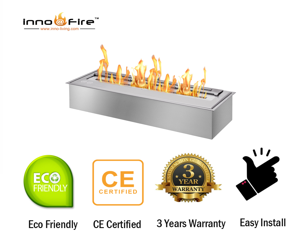 Hot Sale 62 Inch Stainless Steel Rectangular Outdoor Ethanol Fireplace