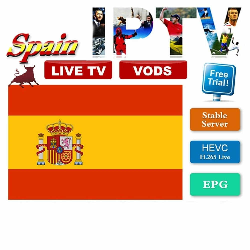 Eropa IPTV Spanyol M3U Berlangganan Bahasa Spanyol Dazn Movistar Olahraga Cinema Box Office untuk Smart TV Box Android 9.0 H96 Max x96 Ssiptv