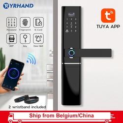Tuya App inteligentne życie elektroniczny inteligentny wodoodporny biometryczny czytnik linii papilarnych inteligentny zamek do drzwi z WiFi dla domu w stopu cynku w Zamki elektryczne od Bezpieczeństwo i ochrona na