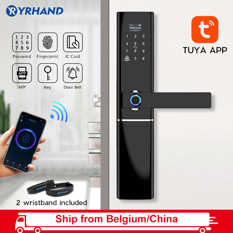 Tuya App Smart Life Electronic Intelligent Waterproof Biometric Fingerprint Smart Door Lock With WiFi For Home In Zinc Alloy