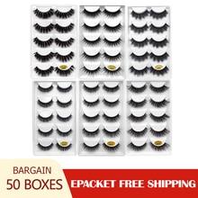 50 Kutuları 3d kirpikler toptan vizon şerit kirpikleri doğal vizon kirpikler kabarık yanlış kirpik uzatma vizon cilios maquiagem