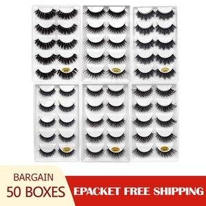 Image 1 - 50 caixas 3d cílios atacado vison tira cílios naturais vison cílios macios cílios postiços extensão vison cilios maquiagem