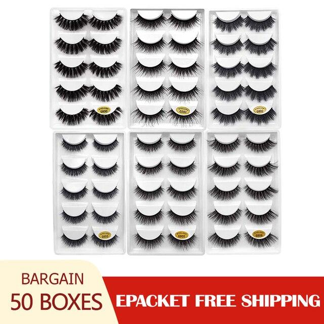 50 caixas 3d cílios atacado vison tira cílios naturais vison cílios macios cílios postiços extensão vison cilios maquiagem