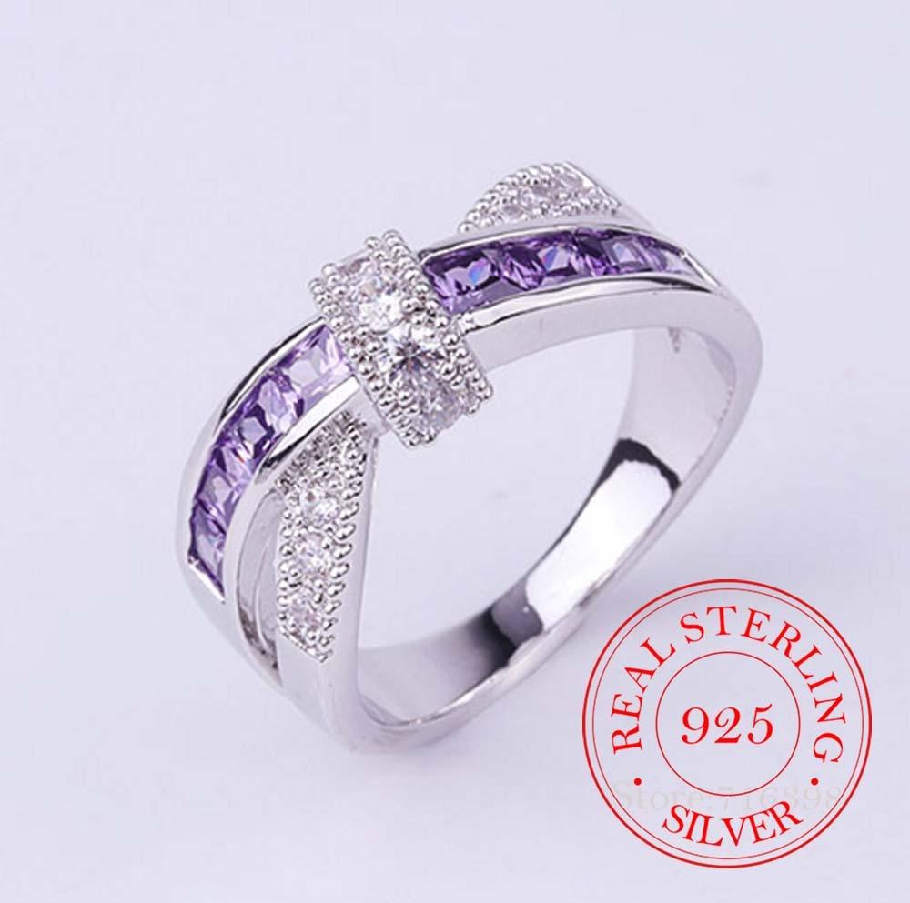 100% серебряные ювелирные изделия из стерлингового серебра 925 пробы, винтажные женские и мужские модные кольца с фиолетовыми кристаллами, укр...