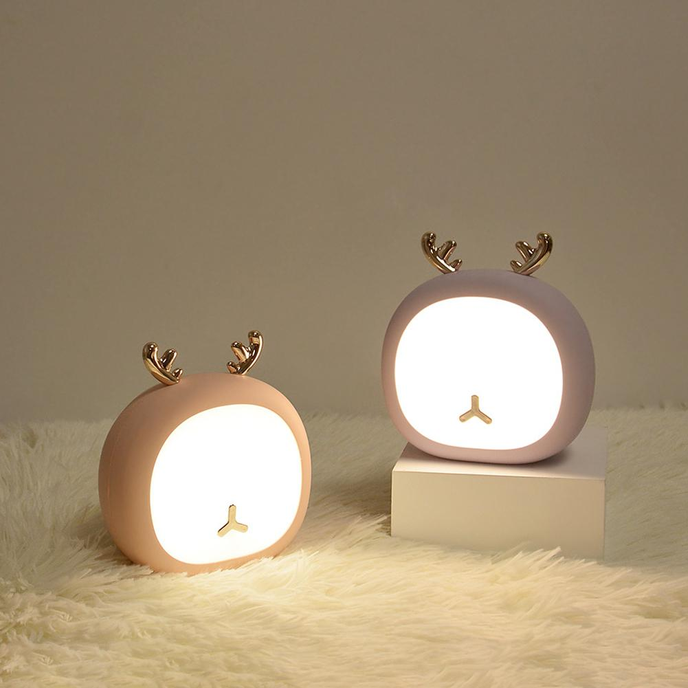 GloryStar Cute Pet Deer Night Light Rabbit Bunny Stepless Touch USB Rechargeable Table Lamp Home Decoration