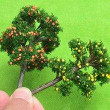 10 pçs/lote modelo de árvores de fruto modelo plástico paisagem trem layout jardim cenário miniatura